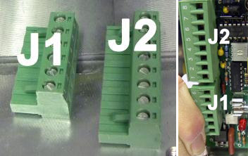 Remove terminal strips J1 and J2 from the PCB